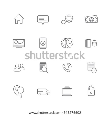 16 business, finance, enterprise line icons, isolated over white, vector illustration