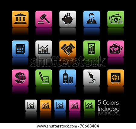 Business & Finance Icons// Color Box -------It includes 5 color versions for each icon in different layers --------- - stock vector