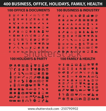 400 business, holidays, health, travel, family, office, document, management, media, computer, website, web, internet flat icons, signs, illustrations design concept vector set - stock vector