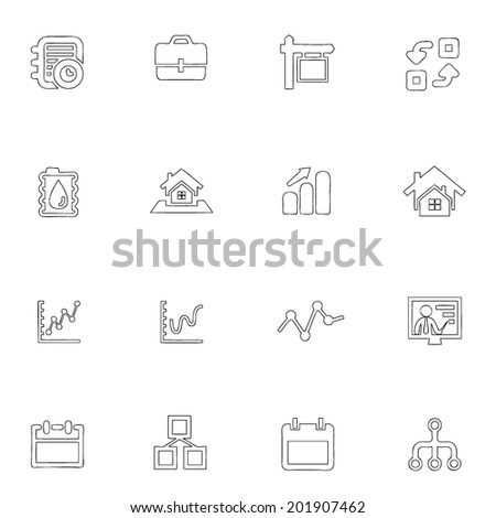 Business icons line drawing by hand Set 11  - stock vector