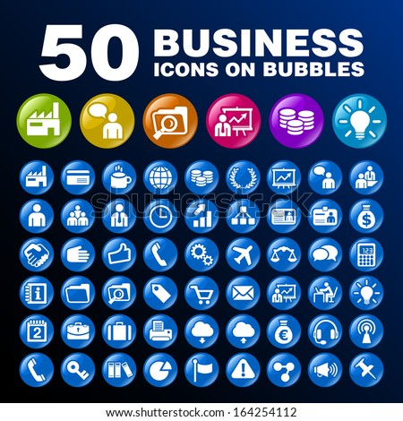50 Business Icons on Bubbles. - stock vector