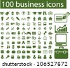 100 business icons set, vector - stock photo