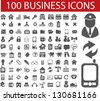 100 business icons set, vector - stock vector