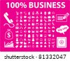 100 business icons, signs, vector illustrations - stock