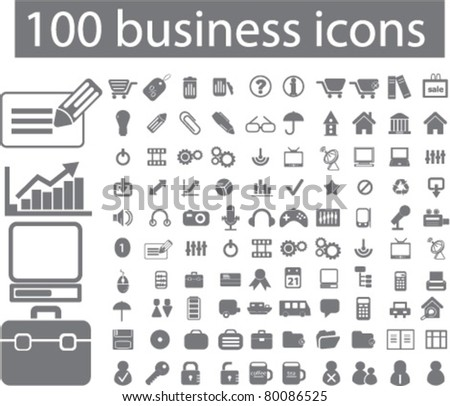 100 business icons, signs, vector illustrations - stock vector