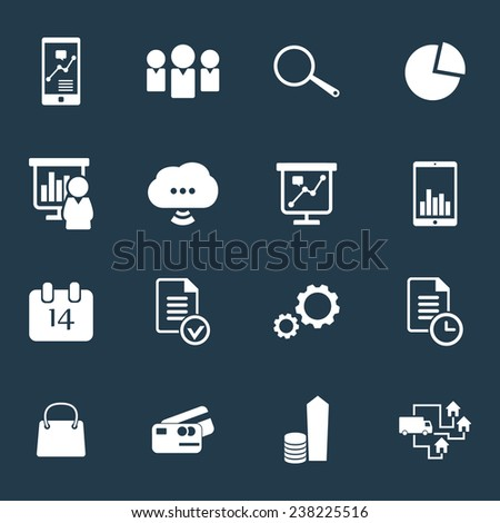 16 business icons vector illustration, eps10, easy to edit - stock vector