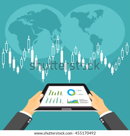 Business investment concept. Business broker analyzing stock market on the digital tablet. - stock vector