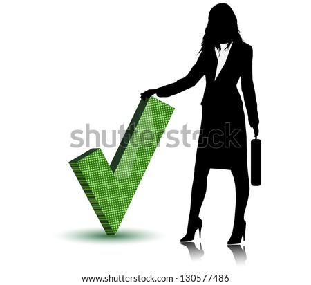 Business lady with check mark symbol.Vector - stock vector