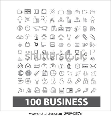 100 business, management outline isolated signs, icons vector set for web, application, design. - stock vector