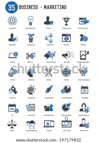 35 Business marketing icon set,blue version,vector - stock vector