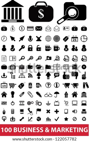 100 business & marketing icons set, vector - stock vector