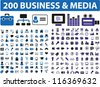 200 business & media, blue color icons set, vector - stock vector