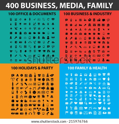 400 business, media, family black icons, signs, illustrations, objects set, vector - stock vector