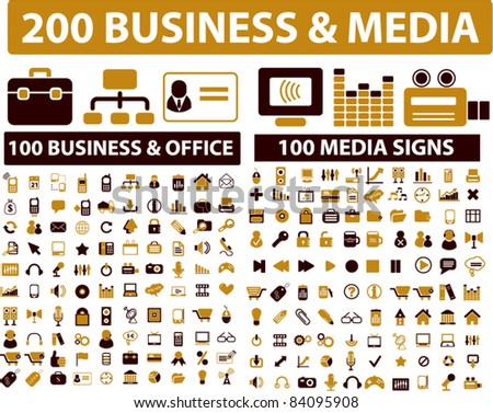 200 business & media icons, signs, vector illustrations - stock vector