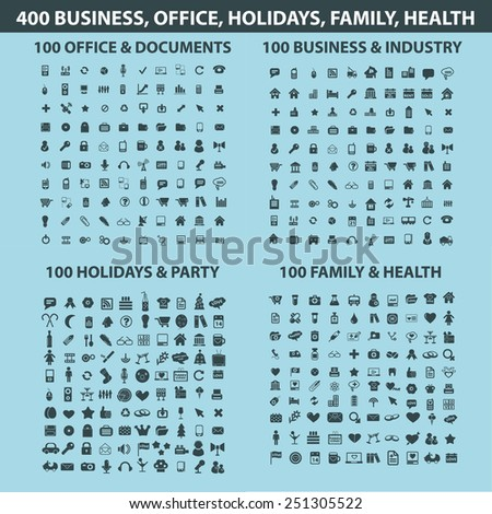 400 business, office, communication, internet, website, technology, health, party, holidays, media, industry, document isolated design flat icons, signs, illustrations vector set on background - stock vector