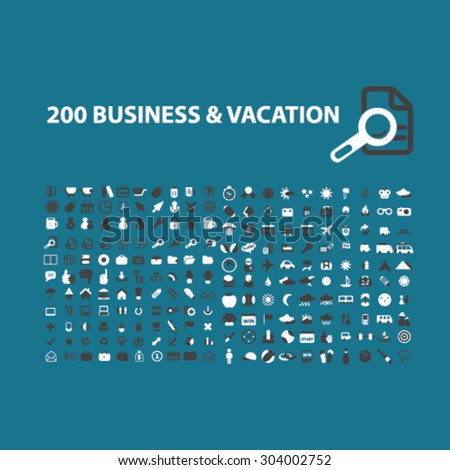 200 business organization, vacaton, travel flat isolated icons, signs, illustrations set, vector for web, application - stock vector