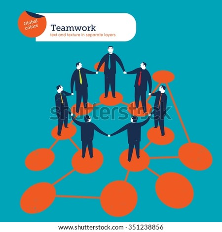 Business people circle on the web. Vector illustration Eps10 file. Global colors. Text and Texture in separate layers. - stock vector