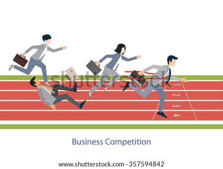 Business people running on red rubber track, business competition, conceptual vector illustration. - stock vector