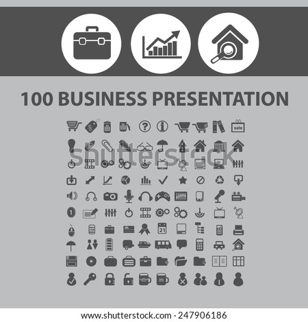 100 business presentation, management, marketing, sales, infographics, finance icons, signs, illustrations set, vector - stock vector