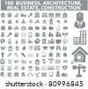 100 business, real estate, construction icons, vector - stock vector