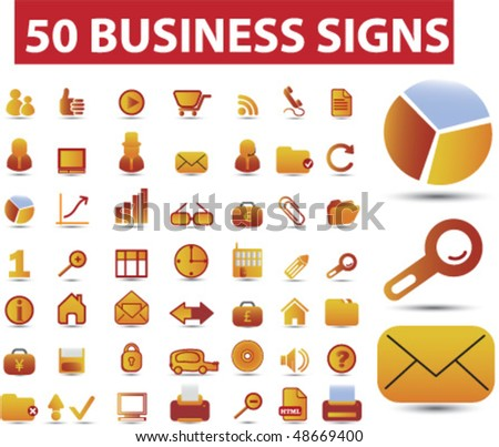 50 business signs. vector - stock vector