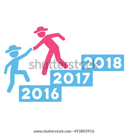 2017 Business Training vector pictograph. Style is flat graphic symbol, pink and blue colors, white background.