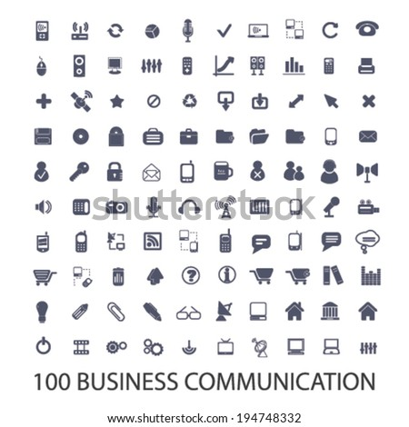 100 business, website, app interface, communication icons set, vector