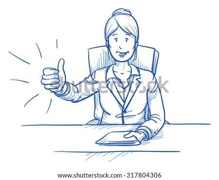 Business woman, happy smiling boss or customer, sitting at her desk showing like, thumbs up, hand drawn doodle vector illustration  - stock vector