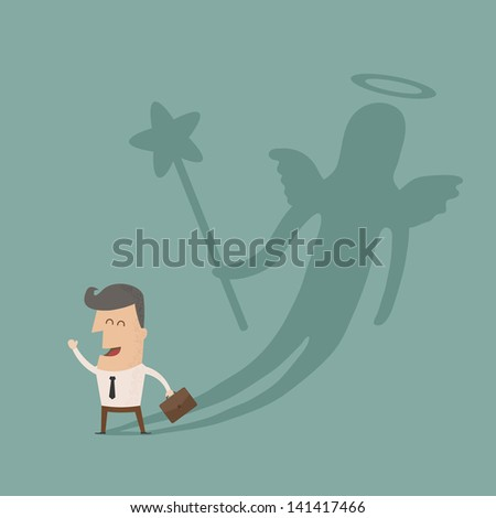 Businessman casting a angel shadow , eps10 vector format - stock vector