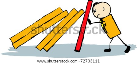businessman overcomes the difficulties of domino - stock vector