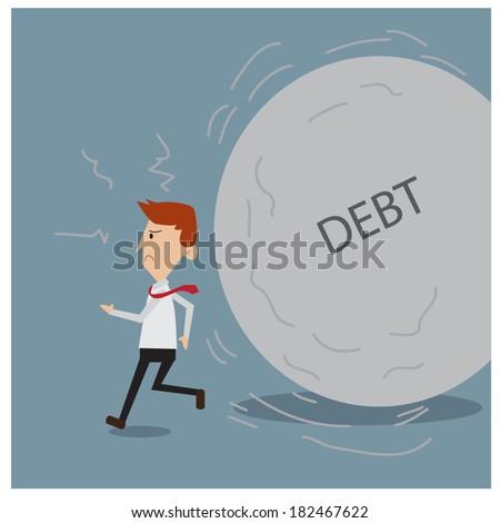 businessman run away from debt burden  - stock vector