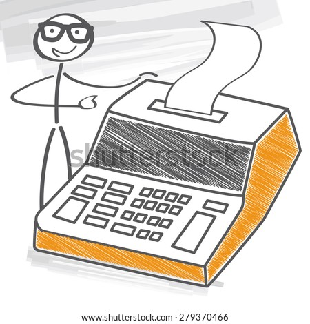businessman with calculator - stock vector