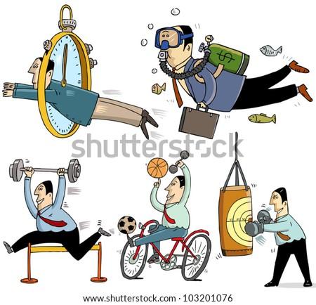 5 businessmen making sport - funny illustrations - stock vector