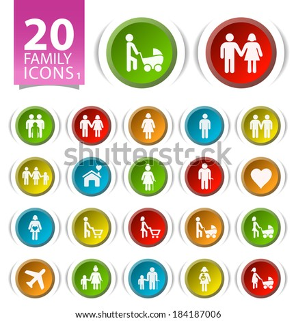 20 Buttons with Flat Family Icons on White Background 1. - stock vector