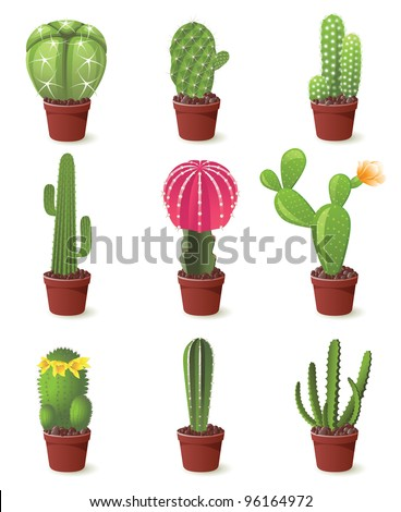 9 cactuses icons set illustration - stock vector