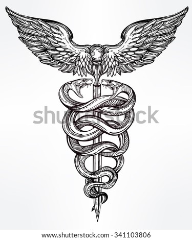 Caduceus symbol of god Mercury. Highly detailed snakes, wrapped around winged staff. Hand-drawn vintage linear tattoo design. Dark romantic isolated vector art.  - stock vector