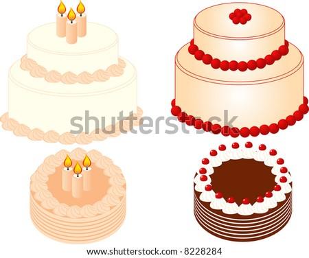 4 cakes,vector - stock vector