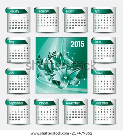 2015 Calendar. - stock vector