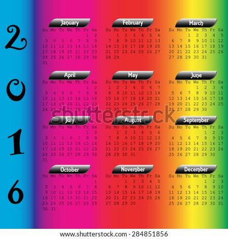 2016 Calendar - stock vector