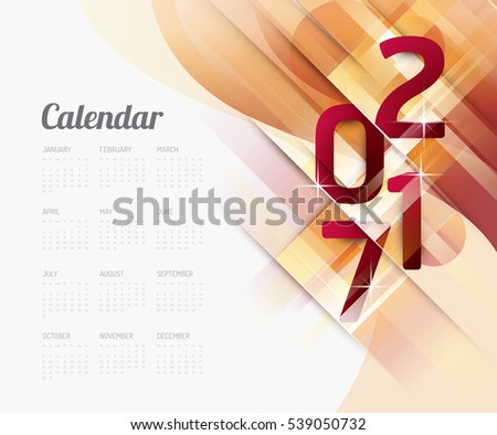 2017 Calendar Abstract vector design