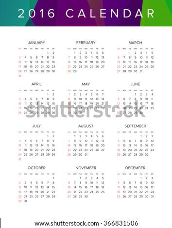 2016 Calendar. Abstract. Week Starts from Sunday. Vector illustration. Print Ready - stock vector