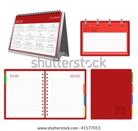 2010 calendar and organizer - stock vector