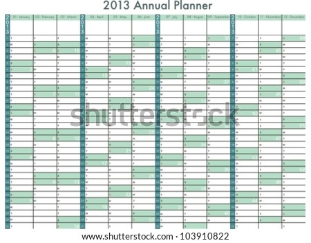 2013 calendar. Annual Planner. Week starts on Sunday - stock vector