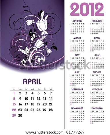 2012 Calendar. April. - stock vector