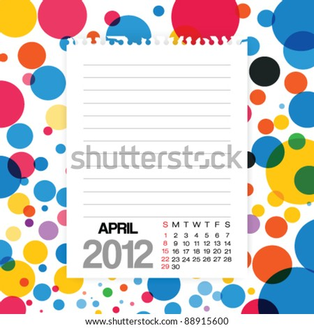 2012 Calendar April Note paper on Colorful Background Vector - stock vector