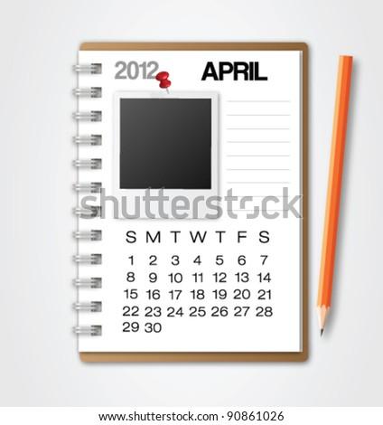 2012 Calendar April Notebook Vector - stock vector