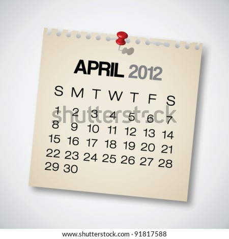 2012 Calendar April Old Torn Paper Vector - stock vector
