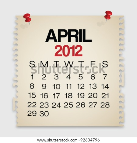 2012 Calendar April Old Torn Paper Vector - stock vector