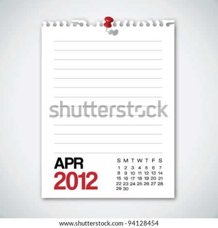 2012 Calendar April Torn Edges Paper Vector - stock vector