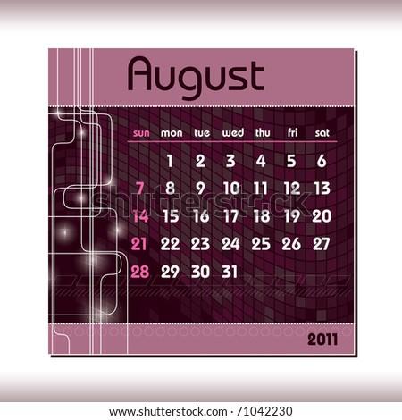 2011 Calendar. August. - stock vector